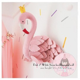 Pink/white swan hanging wall