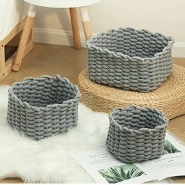 Cotton rope woven basket